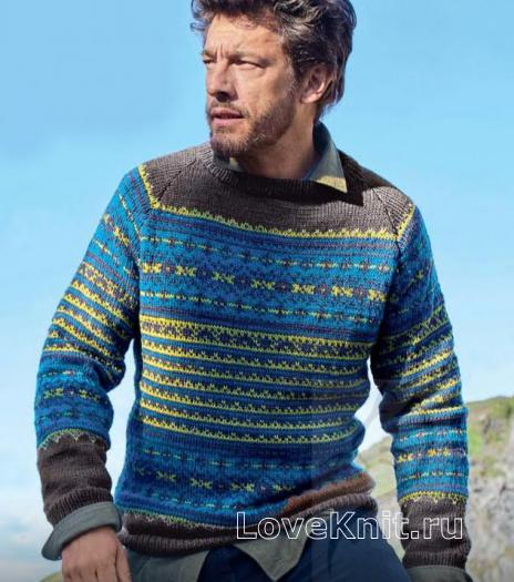 Как связать для мужчин мужской жаккардовый пуловер