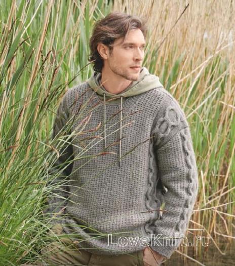 Как связать для мужчин объемный мужской пуловер с косами на рукавах