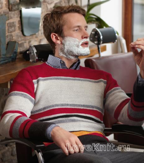 Как связать для мужчин полосатый пуловер с круглым воротником для мужчины