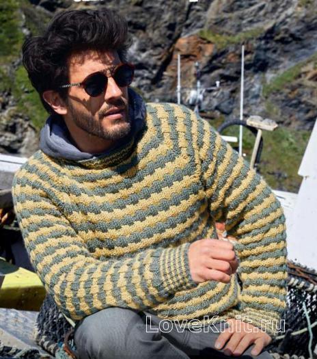 Как связать для мужчин полосатый пуловер с объемным рисунком