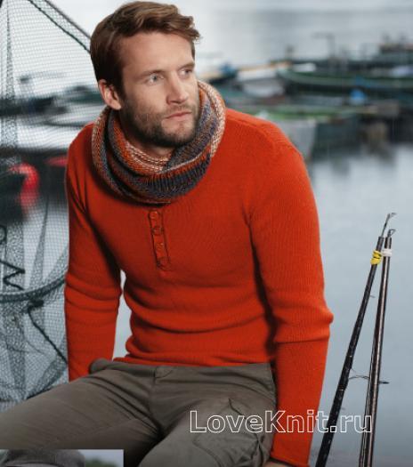 Как связать для мужчин приталенный мужской пуловер с пуговицами