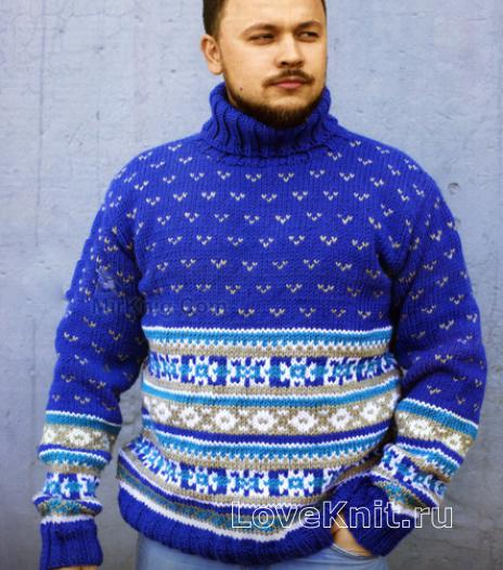 Мужской свитер спицами с норвежским узором схема 179