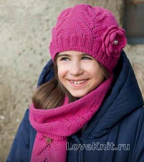 Как связать  ажурные комплект для ребенка из шарфа и шапки с цветком