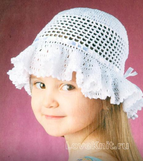 Как связать  белая вязаная шляпка для девочки 4х лет