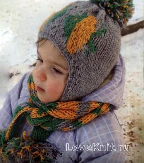 Как связать  цветная шапочка с помпоном и шарфик