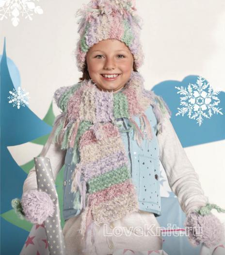 Как связать  цветная шапочка, шарф и варежки для ребенка