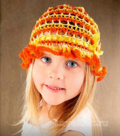 Как связать  детская оранжевая панамка