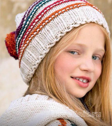 Как связать  детская шапка с цветными полосами и помпоном