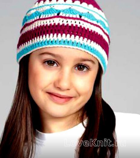 Как связать  детская шапочка с цветным узором