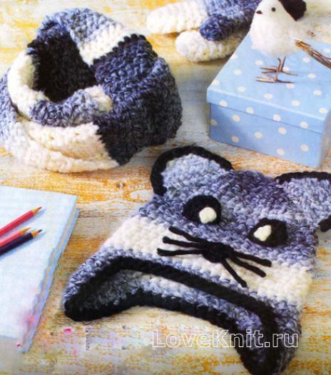 Как связать  детская шапочка с мордочкой кошки, снуд и варежки