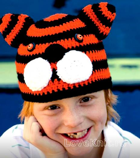 Как связать  детская шапочка в виде тигра