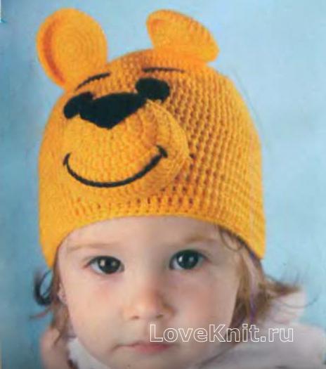 Как связать  детская шапочка в виде винни-пуха