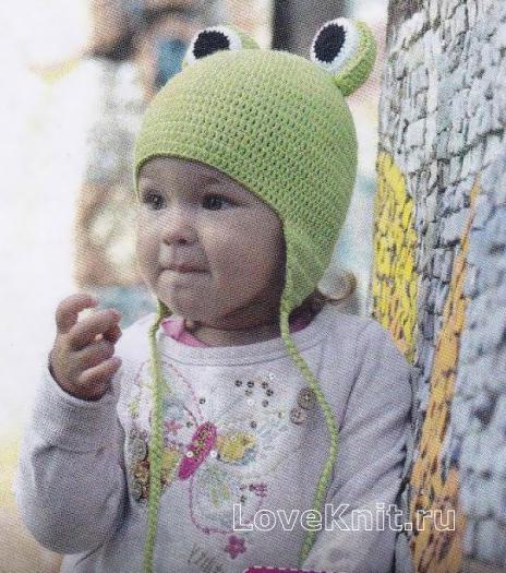 """Как связать  детская шапочка на завязках """"лягушонок"""""""