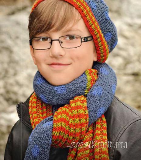 Как связать  длинный шарфик и шапочка в горошек