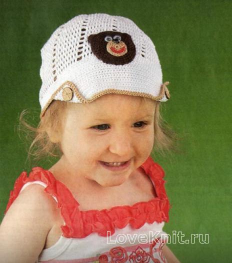 """Как связать  кепка для ребенка с аппликацией """"мишка"""""""