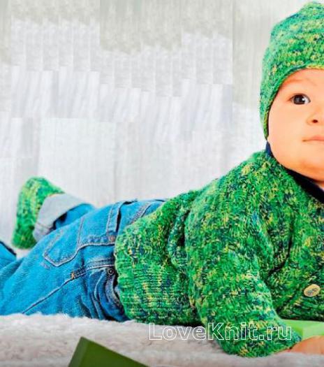Как связать  меланжевая шапочка, носочки и жакет для малыша