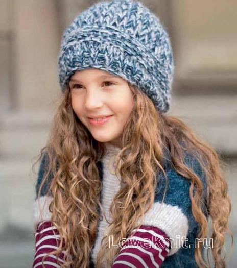 Как связать  объемная шапочка крупной вязки для девочки