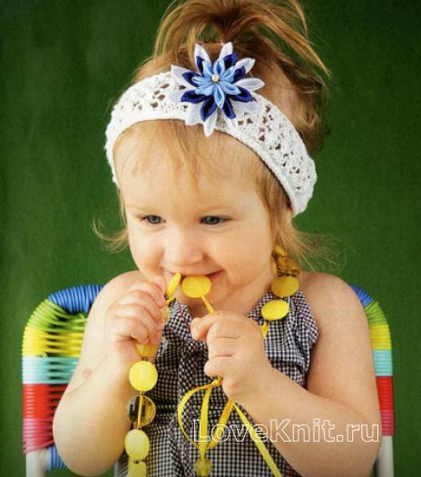 Как связать  повязка для девочки с цветком