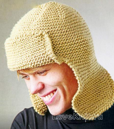 Как связать  шапка ушанка