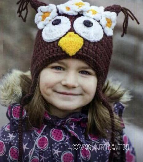 """Как связать  шапка с ушками """"сова"""" для ребенка"""
