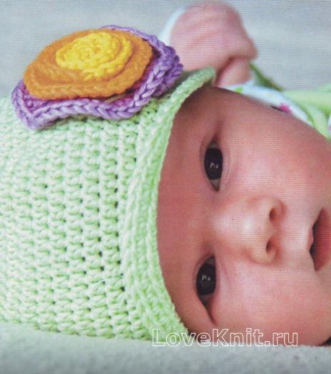 Как связать  шапочка с цветом для младенца
