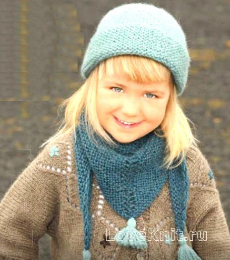 Как связать  шапочка для девочки и косынка с кистями