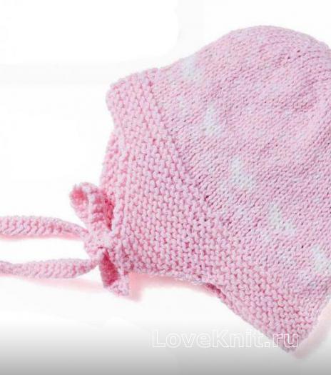 Как связать  шапочка для девочки на завязках