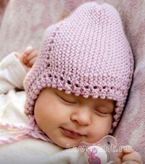 Как связать  шапочка для младенца с декоративной каймой