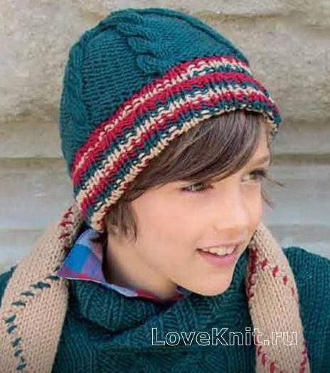 Как связать  шапочка с контрастными полосами
