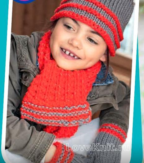 Как связать  шапочка, шарфик и варежки для ребенка