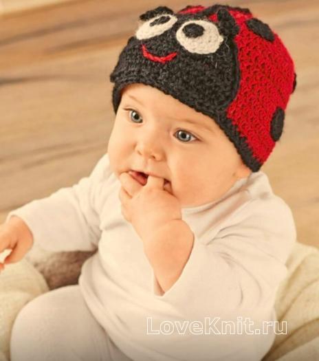 Как связать  шапочка в виде божьей коровки для малыша