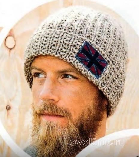 Как связать для мужчин классическая шапка с отворотом