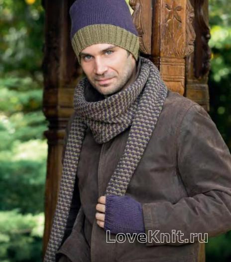 Как связать для мужчин мужской комплект - цветная шапка, жаккардовый шарф и митенки