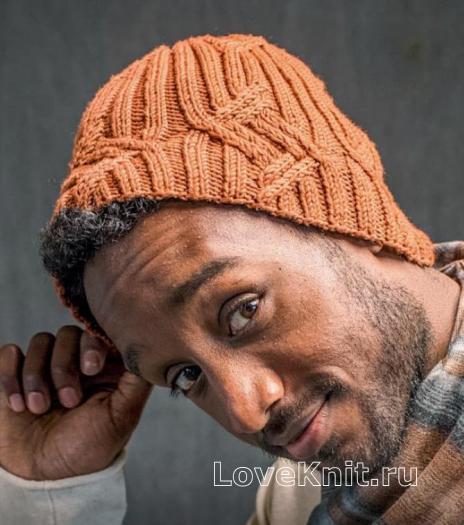 Как связать для мужчин шапка бини с рельефным рисунком
