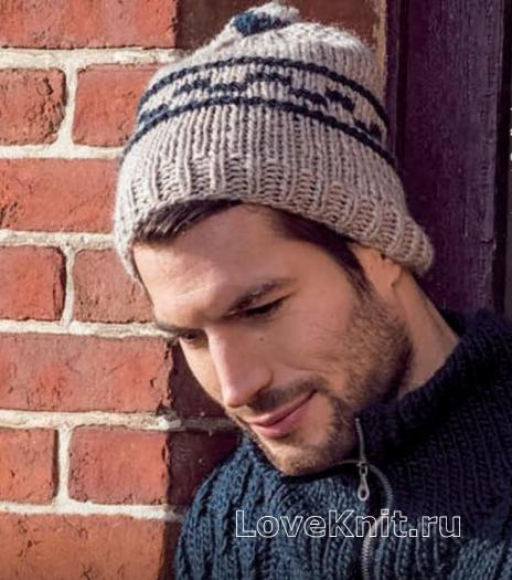 Как связать для мужчин шапка унисекс с жаккардовым рисунком
