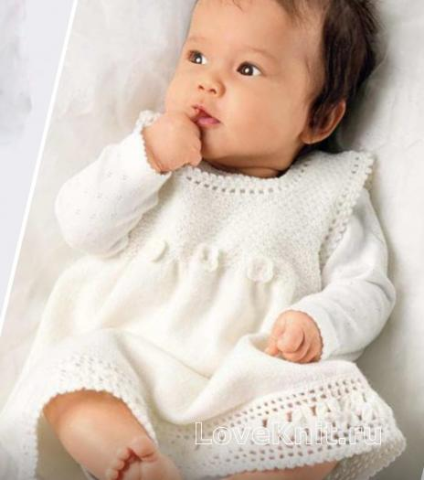 Как связать  детское белое платье с кружевной каймой