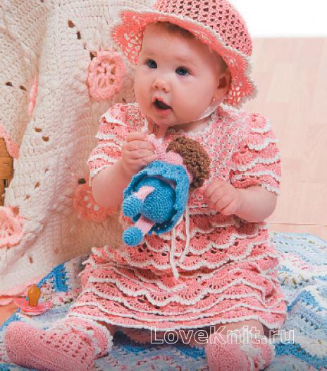 Как связать  детское платье и шляпка