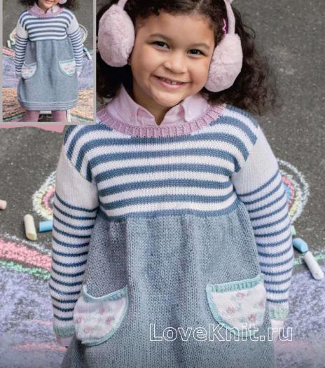 Как связать  детское платье в полоску с карманами