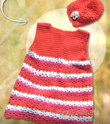 Как связать  детское платье в полоску и шапочка с цветком