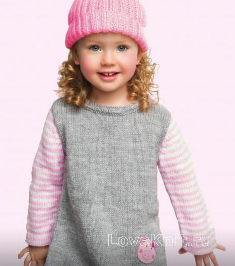 Как связать  платье детское с полосатыми рукавами