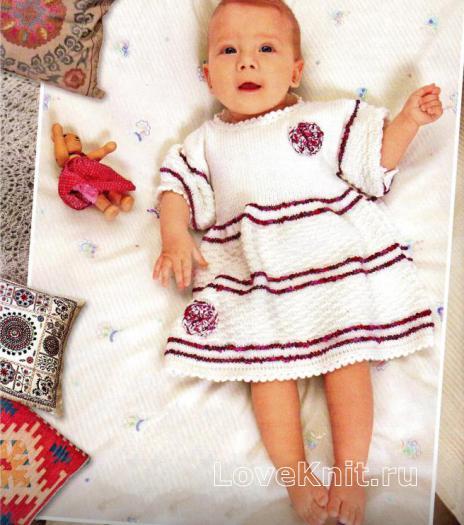 Как связать  платье для девочки в полоску