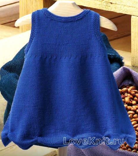 Как связать  платье для ребенка с волнообразным подолом