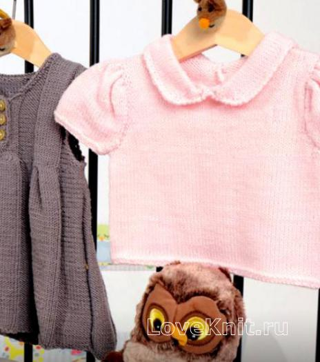 Как связать  платье на пуговицах и пуловер с круглым воротничком для девочки