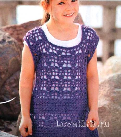 Как связать  платье без рукавов для девочки в виде трапеции