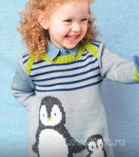 Как связать  полосатое детское платье с рисунком «пингвин»