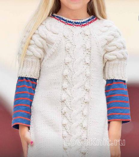 Как связать  рельефное платье с косами для подростка