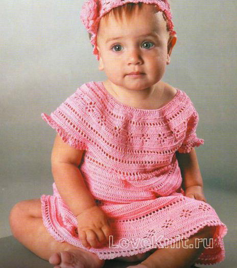 Как связать  розовое платье для девочки 1 год с повязкой на волосы