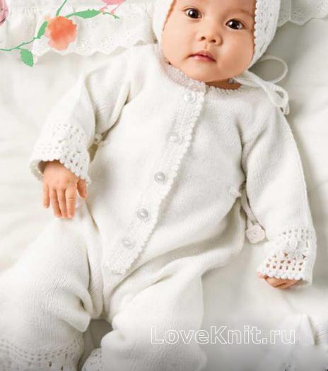 Как связать  белый детский комбинезон и шапочка