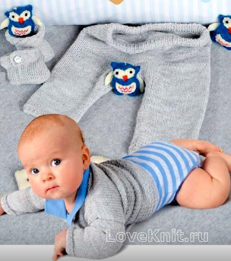 Как связать  детский костюм из штанишек, жакета, шапочки и пинеток