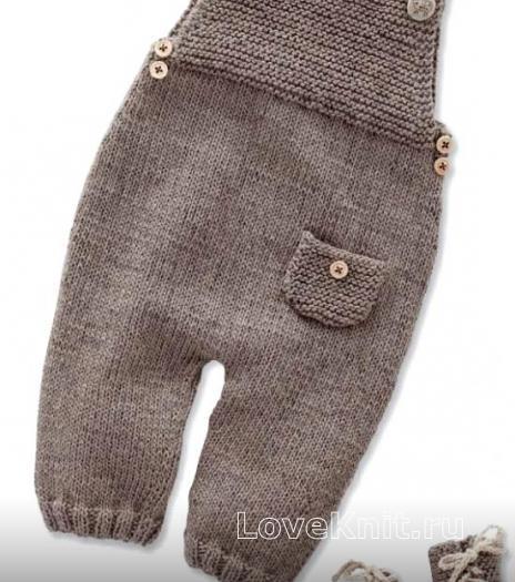 Как связать  детский полукомбинезон с карманом и пинетками